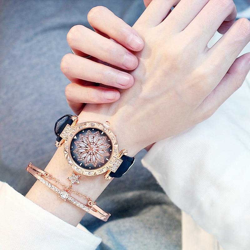 2019 kobiet zegarki zestaw Starry Sky bransoletka damska zegarek Casual skórzany sportowy zegarek kwarcowy zegar Relogio Feminino 4
