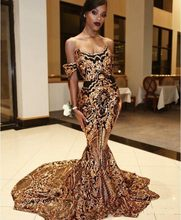 Luxury Mermaid Gold Black Prom Dresses off shoulder Sexy African Party Gowns Vestidos Special Occasion Dress Evening Wear(China)