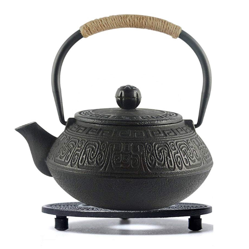 Black Cast Iron Teapot Trivet with R