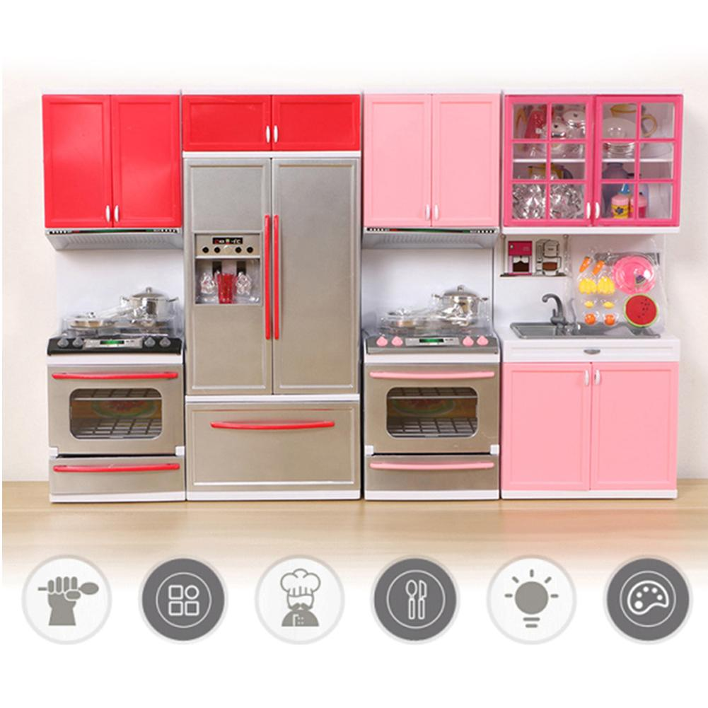2 Pc/Set Kids Mini Doll House Furniture Toy Stove Fridge Kids Pretend Play Cooking Educational Toy Kid's Gift With LED Music
