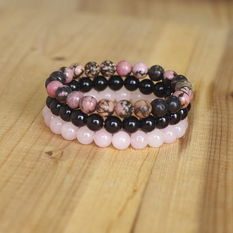 8mm Natural Stone Bracelet Sets Men Women Rhodonite Rose Quartzs Black Onyx Beaded Stackable Wrist Mala Charm Bracelets