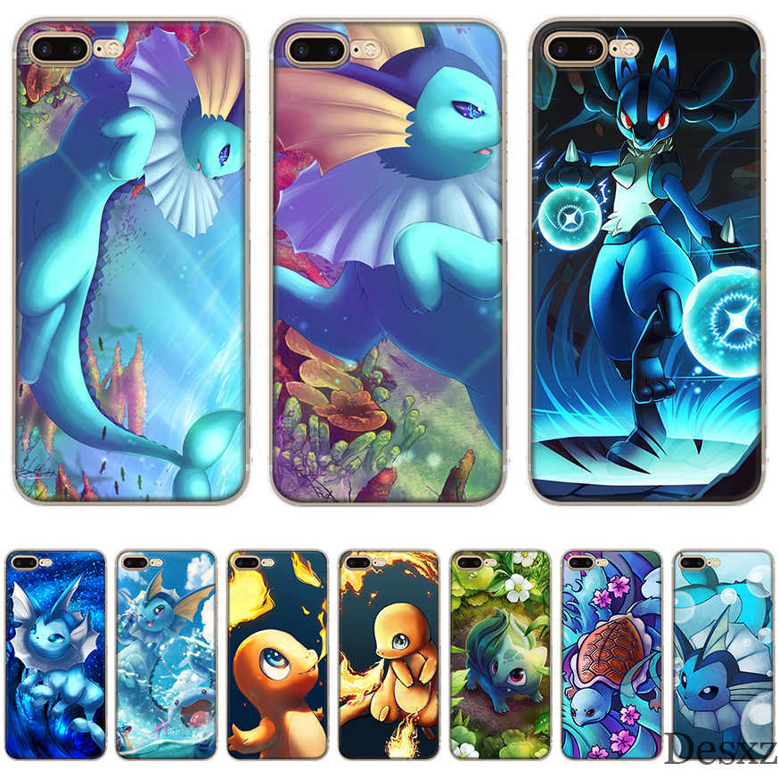 Caso de telefone charizard squirtle vaporeon pokemons para iphone 8 7 6 s plus iphone 11 pro x xs xr max 5 5S se capa