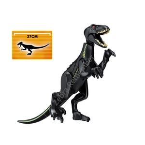 Image 2 - ジュラ紀世界恐竜フィギュアレンガティラノサウルスindominus rex i rex組み立てるビルディングブロック子供のおもちゃdinosuar