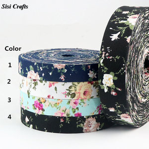 Sisi Crafts Tape 10 25 40mm 1 inch Fabric Floral Ribbon Print Cotton Fabric Bias DIY Hair Bow Tie Collar Handmade Accessory Trim(China)