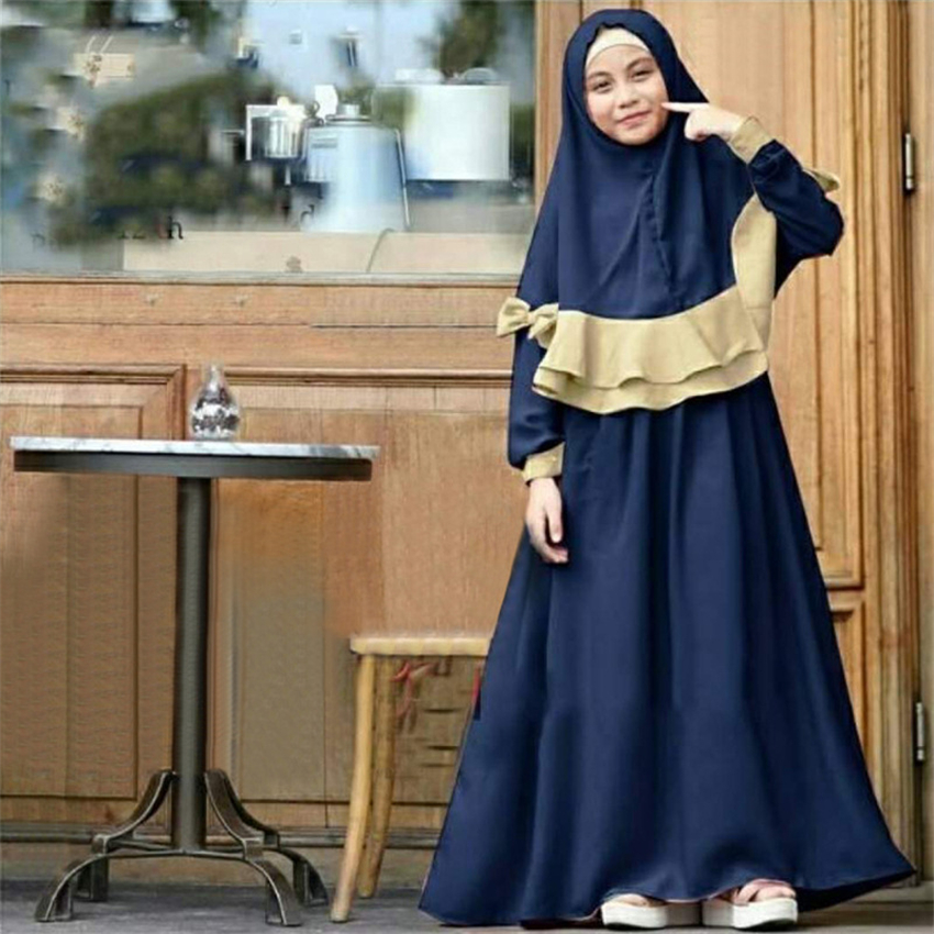 Abaya Kids Muslim Dress For Girl Children Dubai Kaftan Islamic Clothing Ramadan Islamic Clothing  Kimono Jubah Middle East