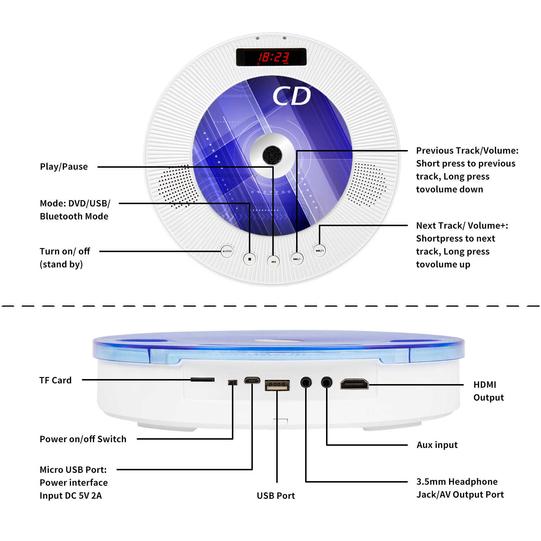 ET קיר רכוב CD נגן 2nd Gen תמיכת DVD לשחק עם LED תצוגת מרוחק Hifi FM רדיו Bluetooth מוסיקה נגן תמיכת USB TF