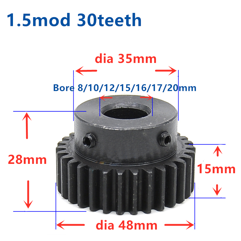 Quench Spur Gear Pinion 1.5M 30T 30Teeth Mod 1.5 Width 15mm Bore 8mm 20mm Right Teeth Major Gear Cnc Gear Rack Transmission RC