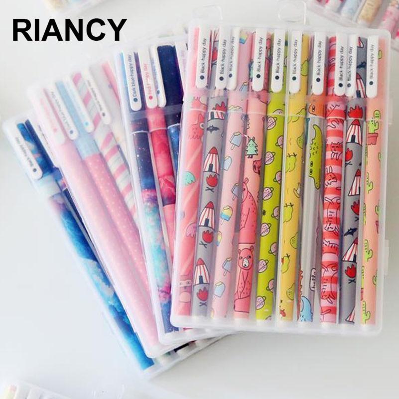 10 pçs 6 pçs colorido flor gel caneta escritório estacionário kawaii material escolar canetas bonito caneta lapices caneta com a caixa 04083
