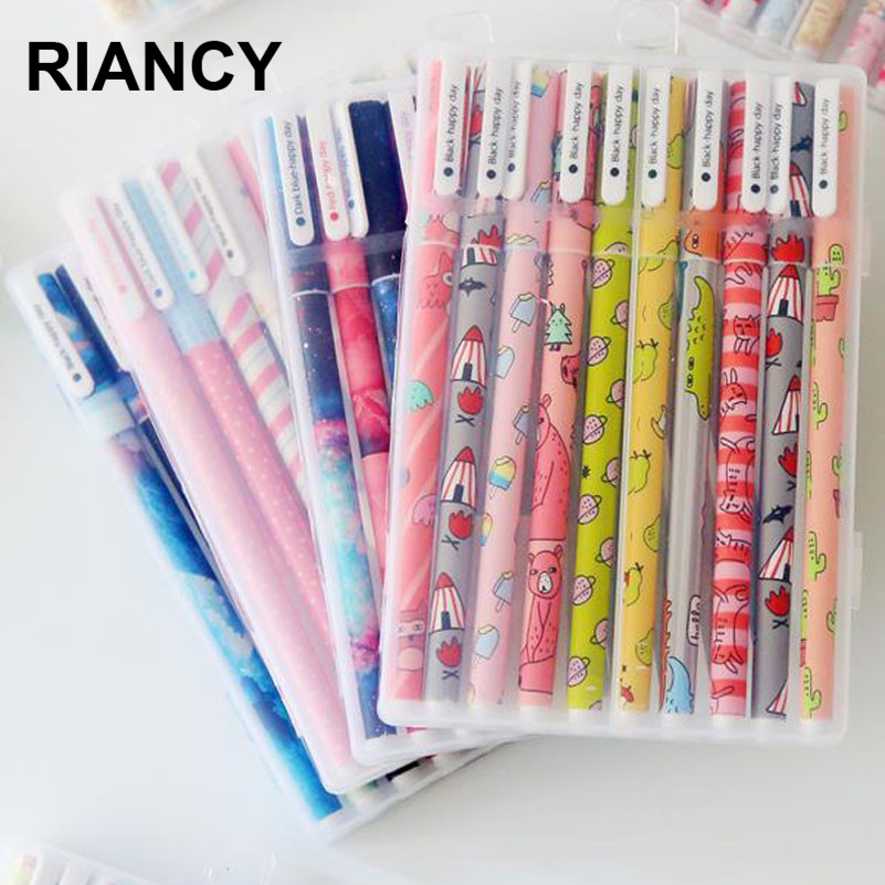 10pcs 6pcs Colorful Flower Gel Pen Office Stationary Kawaii School Supplies Canetas Cute Pen Lapices Pen With The Box 04083