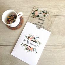 Cartão de convite envelop branco, casamento estilo europeu, elegante, floral, corte a laser, convite, 10 peças, cartão de convite acrílico