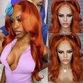 SMD эффектом деграде (переход от темного к красный 13*6 Синтетические волосы на кружеве парики из натуральных волос бразильский Реми человечес...
