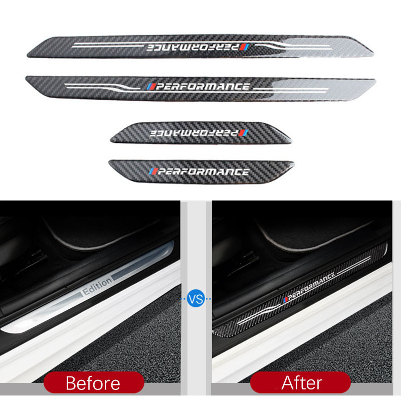 Accessories Door Sill Scuff Plate Guards Carbon Fiber Door Sills Protector Stickers For <font><b>BMW</b></font> F10 F30 F34 E70 X1 X5 X6 <font><b>E90</b></font> E70 E71 image