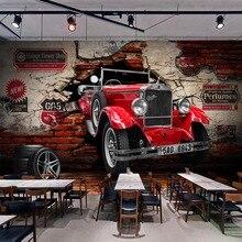 Foto personalizada papel pintado Retro rojo coche pared rota murales restaurante Café Bar Fondo decoración de pared en PVC impermeable espesar pegatina