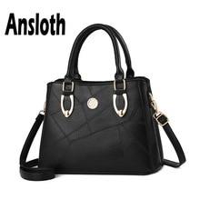 Ansloth Vintage Handbag Women PU Leather Handle Bag Solid Color Shoulder For Lady Big Crossbody Female Tote HPS705