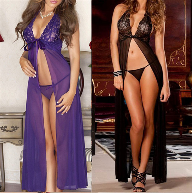 2019 Newest Hot Black Babydoll Sleepwear And G-string Laies Hot Sexy Lingerie Lace Dress Underwear 3FS