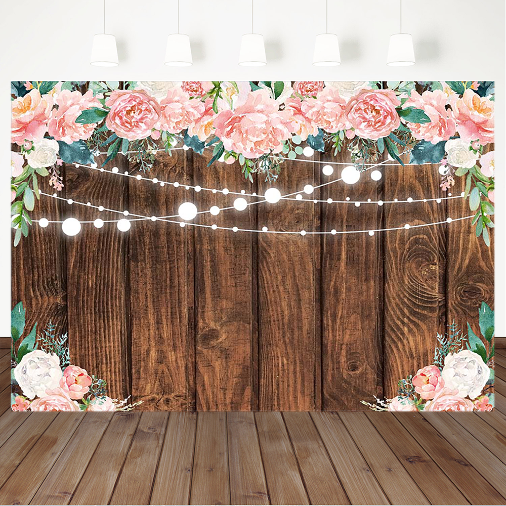 Rustic Wood Flowers Backdro Floral Wedding Bridal Shower