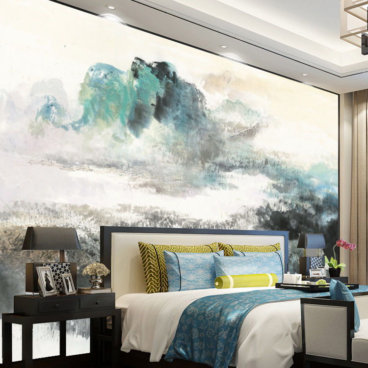 New Chinese Style Ink Landscape Background Wallpaper 3D Large Mural Abstract Watercolor Living Room Bedroom Wallpaper Watercolor