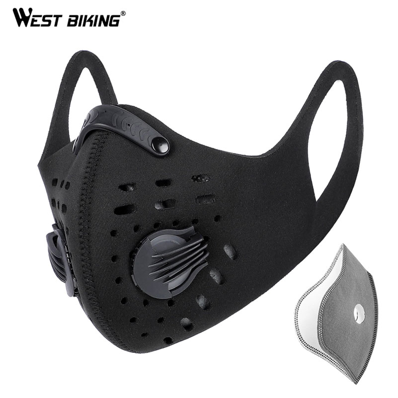 WEST BIKING Men Cycling Face Mask Activated Carbon Sport Half Face Shield Washable KN95 MTB Bike Bicycle Masks With Filter