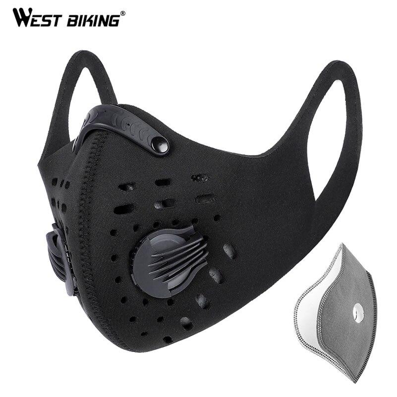 WEST BIKING N95 mężczyźni maska kolarska na twarz coronawirus węgiel aktywny Sport pół osłona twarzy MTB rower maski rowerowe z filtrem w Maska kolarska na twarz od Sport i rozrywka na title=