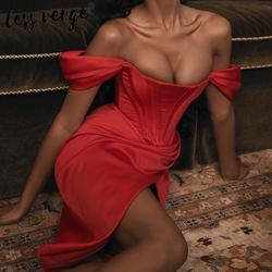 Lessverge элегантное Красное длинное вечернее платье с открытыми плечами женское асимметричное осенне-зимнее платье с разрезом рождественское...