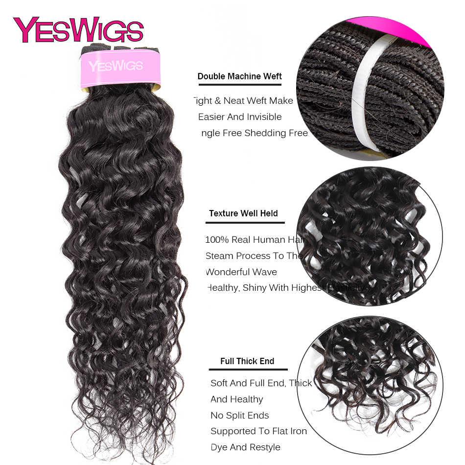 Yeswigs brazylijski Water Wave zestawy ludzkich włosów do przedłużania włosów nie remy włosy wyplata oferty pakietowe 1/3/4 sztuka Natural Color uwalnia statek