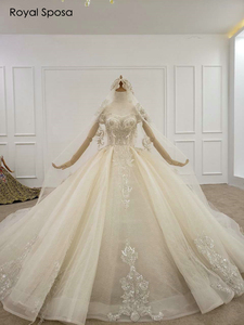 Image 4 - 2020 Royal wedding dress off the shoulder sleeves with long veil real work