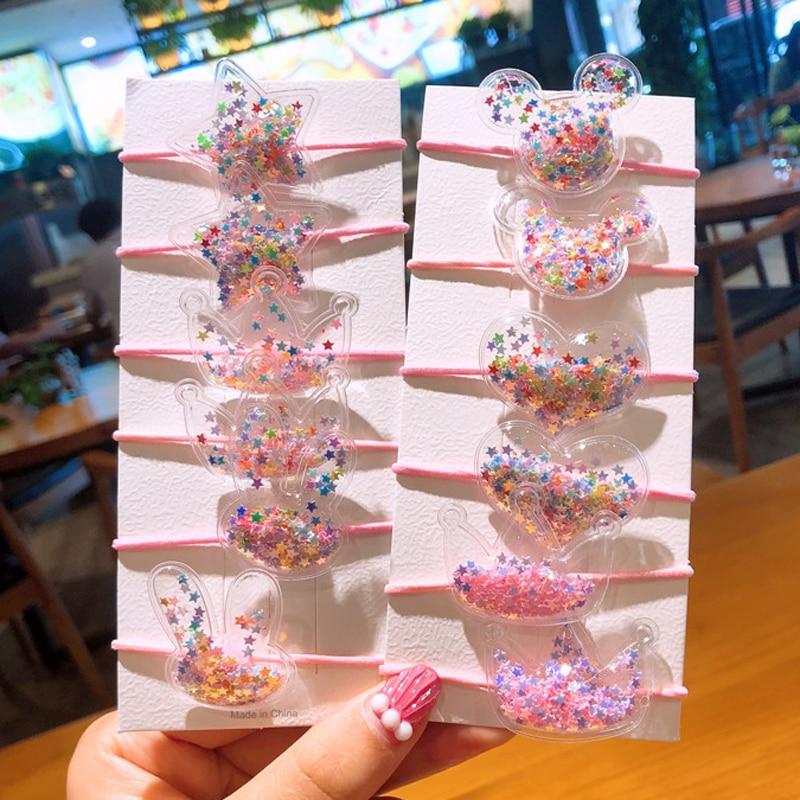 1Set Kids Sequins Transparent PVC Elastic Hair Band Cute Cartoon Rabbit Ear Rubber Bands Headdress For Girls Headwear Set Boxed