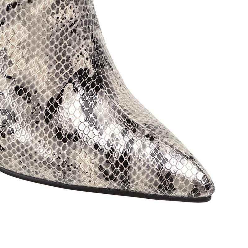 Kemekiss Plus Size 34-48 Knie Hoge Laarzen Vrouwen Winter Snake Print Rits Casual Hoge Hakken Vrouwen Wees teen Lange Laarzen
