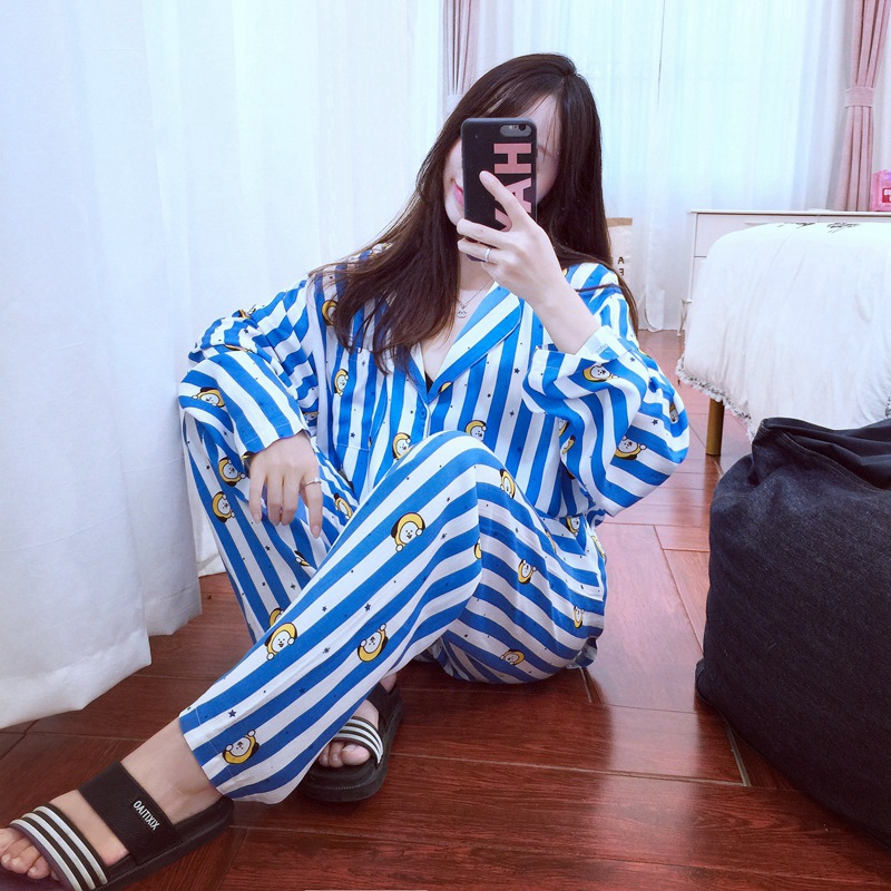 Image 2 - New Cartoon Sleepwear Heart Stripe Print Pajamas Sets Women Harajuku pajamas Men Women long sleeve shirt nighty Nightwear Set-in Pajama Sets from Underwear & Sleepwears