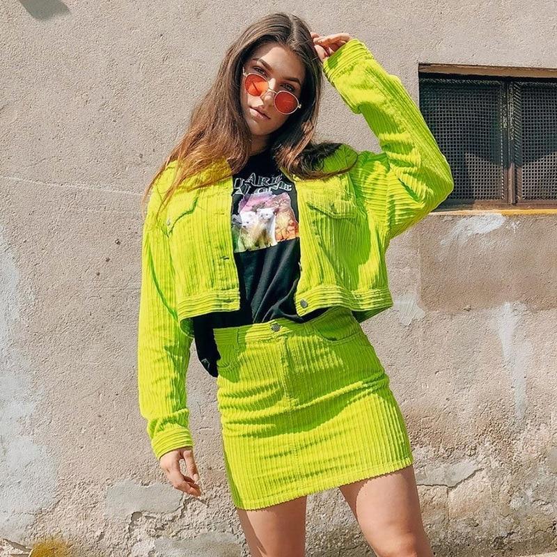 Helisopus New Autumn Corduroy Long Sleeve Crop Jacket Women Neon Green Slim Windbreaker Short Coats