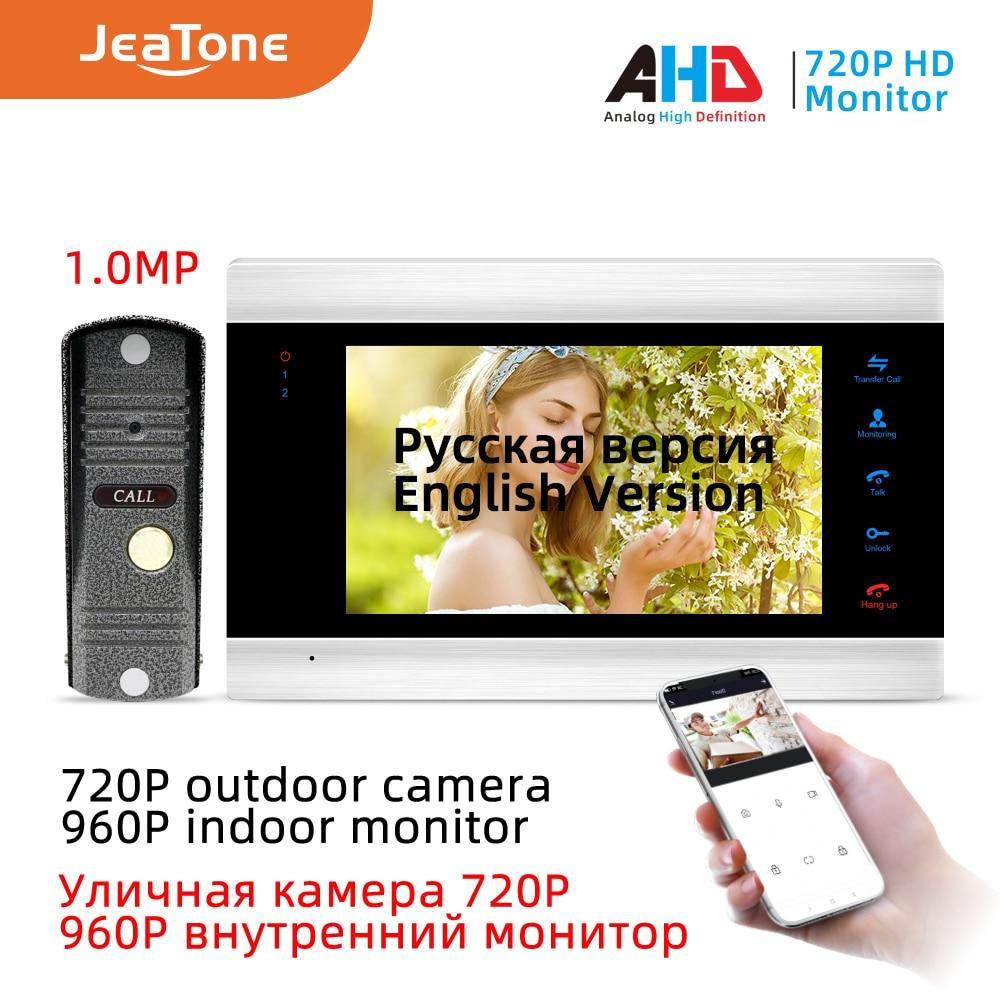 Jeatone 720P/AHD 7'' WiFi Smart IP Video Door Phone Intercom System With Waterproof AHD Doorbell Camera, Support Remote Unlock