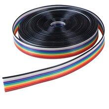 Cable plano de 10 vías, 5 metros/lote, Cable de cinta de Color arcoíris, Cable de cinta de 10P, 28AWG