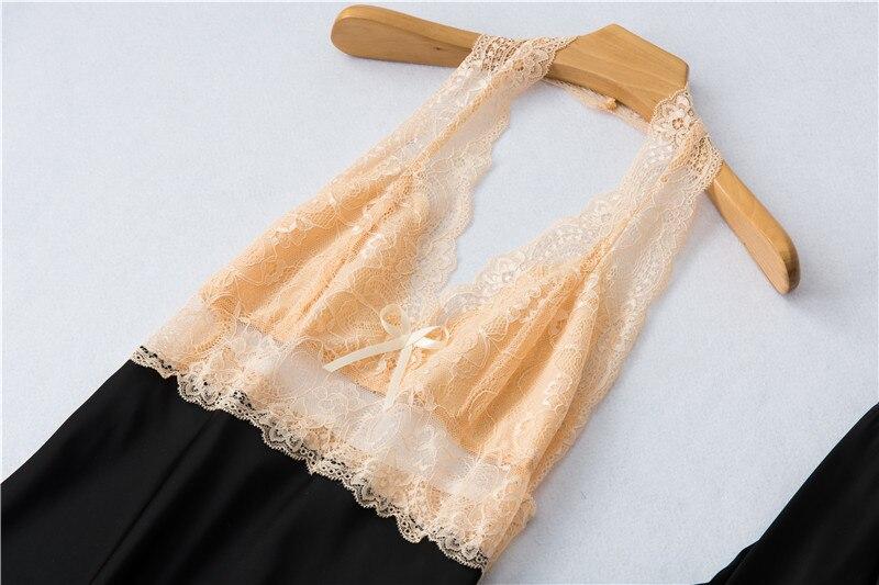 Daeyard pijamas de seda femininas, contraste, cor,