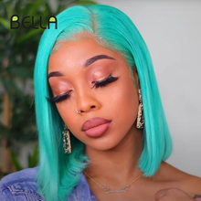 Парик женский Синтетический на сетке, фронтальный с коротким Бобом, светлые волосы, мятно-зеленые волосы Тиффани, 4 х4
