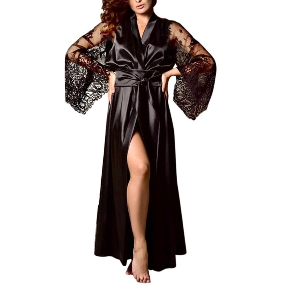 Sexy Women Satin Kimono Robe Bathrobe Sleepwear Female Belt Simulation Silk Lace Long Sleeve Dressing Gown Vestaglia