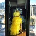 Vestido hi-lo longo, robe amarelo da moda, 2 peças, festa à noite, extra, cheio, tule, plissado, robe de soiree
