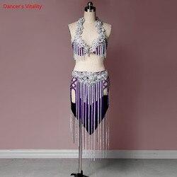 Женский костюм для танца живота, новый комплект, сексуальная блестящая кисточка, короткий костюм на заказ, роскошные танцевальные костюмы