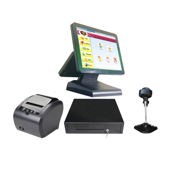 Full set ComPOSxb 15+12 inch dual screen POS system All In One for retailers printer cash drawer scanner POS Machine
