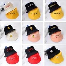 Crianças verão chapéu reversível pato balde chapéu para meninas meninos moda bob triste meninos panamá dobrar meninas chapéu de sol praia pescador chapéu
