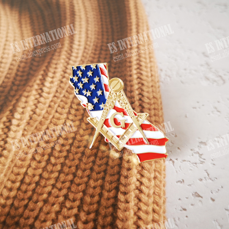 Masonic Lapel Pins Badge Mason Freemason   USA State Flag Map California 2.7*3.3cm