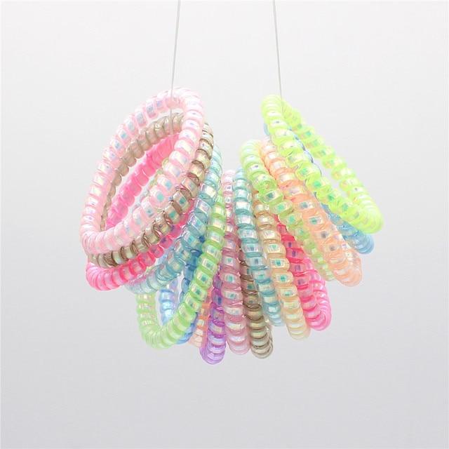 10 Uds súper fino en espiral, lazos de plástico para el cabello, cuerdas de cabello estiradas coloridas, cable telefónico, coleta para proteger tu cabello