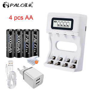 1.2V AA Battery Rechargeable Batteries Ni-MH Pre-charged Rechargeable Battery 2A Baterias+Smart USB charger for AA/AAA battery(China)