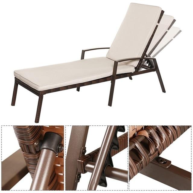 2 Pcs Adjustable Back Sun Lounge Chairs  5