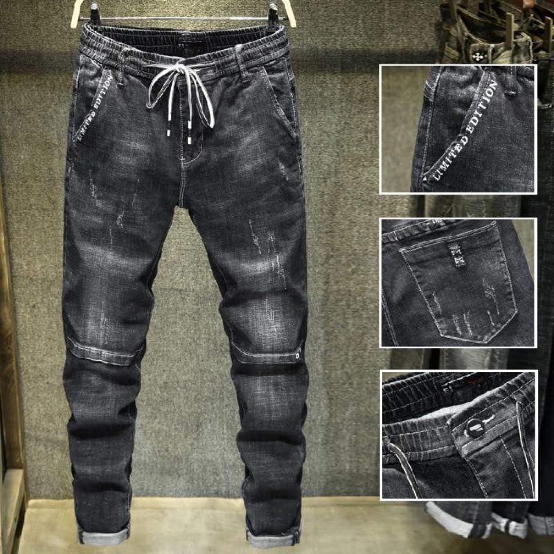 Elastic Waist Printed Popular Brand Jeans Men's Slim Fit Elasticity Skinny Pants Trousers [QQ Group: 584117172]