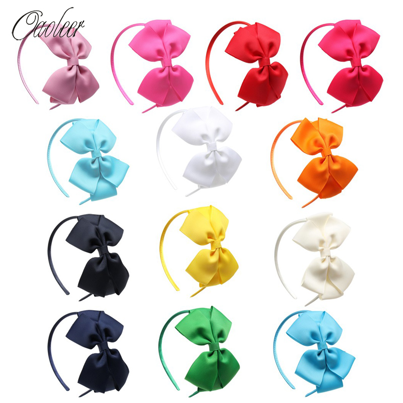 Oaoleer Hair Accessories 13 Pcs/Lot Ribbon Bow Hairbands For Girls Double Layers Solid Hair Bows With Satin Bands Kids Hair Hoop