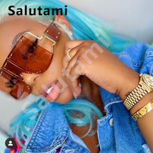 Hollow Frame One Piece Rivet Sunglasses For Women Luxury Brand Alloy Mirror Sun