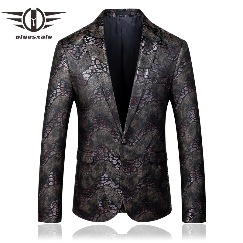 Velvet Blazer Men 2019 New Autumn Slim Fit Mens Printed Blazers Casual Suit Jacket Party Wedding Groom Prom Blazers 5XL Q636