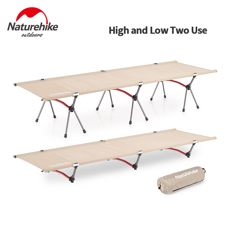 Naturehike Sleeping Pad Camping Tent Cot Hike Bed Outdoor Portable Foldable Aluminium Alloy Camp Cot Camping Travel Leisure Bed
