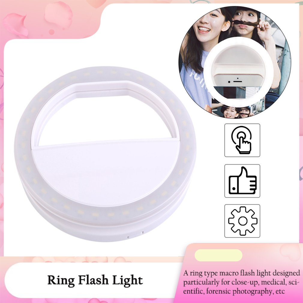 Portable USB Charge Selfie Ring Light Flash LED Camera Phone Auto Flash Ring Light Enhancing Photography For IPhone Smartphone