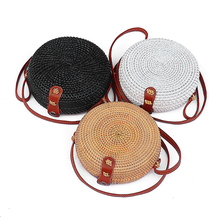 3 colors Round Retro Style Straw Women Rattan Shoulder Bags round rattan bag Handmade Woven Bohemia Crossbody bag New Fashion